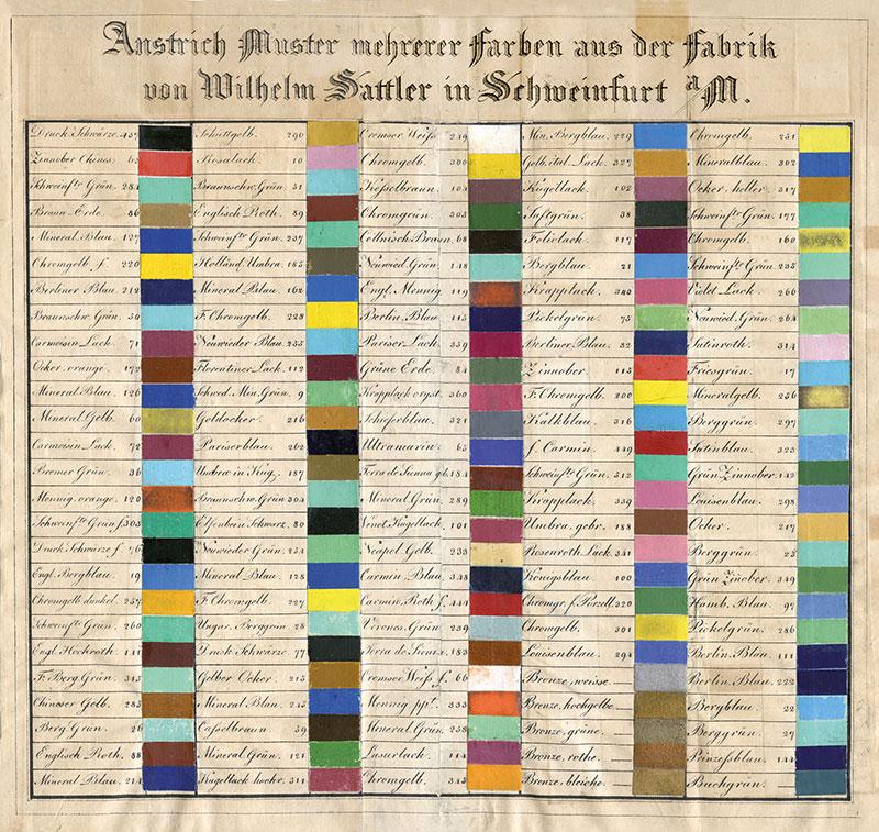 Anstrich Muster aus der Fabrik Wilhelm Sattler Schweinfurt a/Mvon