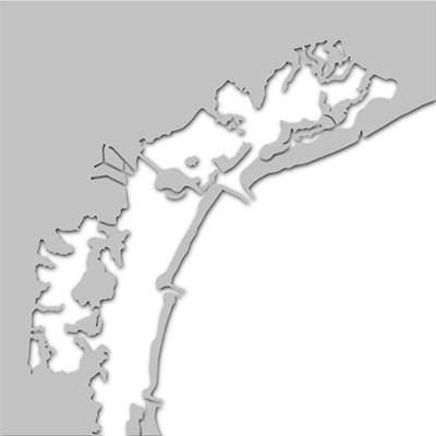 Strichzeichnung Lagune von Burano in Italien