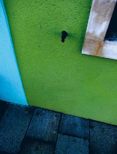 Farbige Häuserwände auf Burano - grün